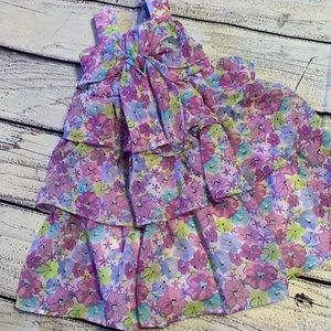 Lilac Floral Ruffle Dress  - Size 4T